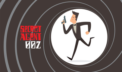 Vector image of a black background in the form of a gun barrel with a cartoon image of a secret agent in a black tuxedo running with a gray gun in his hand in the center. Spy. Vector illustration.