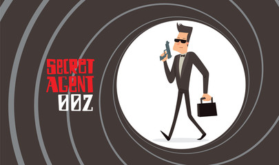 Vector image of a black background in the form of a gun barrel with a cartoon image of a secret agent in a black tuxedo walking with a gun and with a briefcase in the center. Spy. Vector illustration.