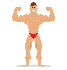Vector cartoon image of a muscular man with brown hair in red swimming trunks standing in the pose of a bodybuilder and smiling on a white background. Sports, bodybuilding coach. Vector illustration.