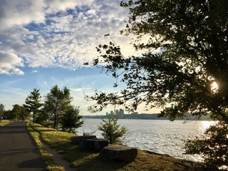Walkway at Riverside park and Hudson River before sunset