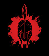 Roman or Greek Helmet , Spartan Helmet, Angry Warrior face designed on splatter blood graphic vector