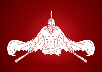 Angry Spartan warrior with Swords  graphic vector.