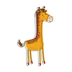 giraffe cartoon watercolor silhouette in white background vector illustration