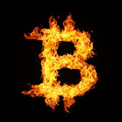 Crypto currency Bitcoin icon from fire flame isolated on black background.