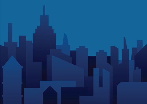 Vector image of a background of night city. Night city in dark blue tones. Flat style. Silhouettes of buildings on a dark blue night background. Vector illustration of night city background.