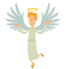 Vector cartoon image of a male angel. Male angel with blond curly hair in a white chasuble. Angel with big white wings and a golden halo over his head. Vector angel with eyes closed and hands raised.