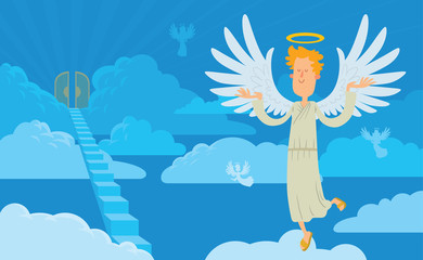 Vector cartoon image of a male angel on a background of heaven. Angel with blond curly hair in a white chasuble. Blue background with clouds, angels, stairs and gates. Angel with a halo over his head.