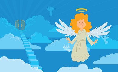 Vector cartoon image of a little female angel on a background of heaven. Little female angel with blond hair in a white chasuble. Blue background with clouds, angels, stairs and gates. Angel with halo