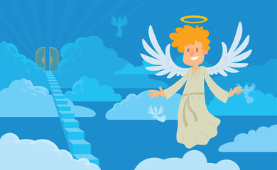 Vector cartoon image of a little male angel on a background of heaven. Little male angel with blond hair in a white chasuble. Blue background with clouds, angels, stairs and gates. Angel with halo.