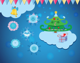 A Christmas set with cute cartoon snowflakes, Christmas tree, a gift, festoon and snow on a frosty blue background