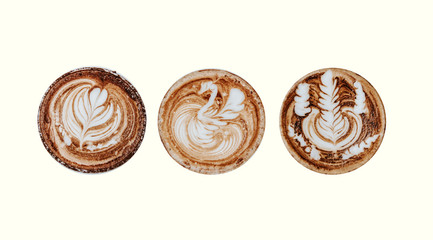 Coffee latte art cappuccino foam set isolated on white background. Top view of hot coffee cappucino cup isolated on white background, clipping path included. Top view latte art coffee