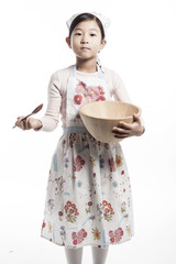 girl(kid) hand hold a wood bowl isolated on the white background.