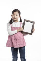 girl(kid) hand hold a photo frame isolated on the white background.