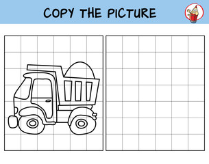 Car. Tipper truck. Copy the picture. Coloring book. Educational game for children. Cartoon vector illustration