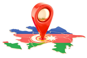 Map pointer on the map of Azerbaijan, 3D rendering