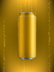 yellow Aluminum can with drink in liquid with bubbles of gas on background with backlight