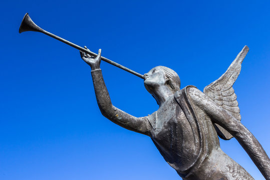 Angel trumpeter isolated against blue sky