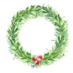 Watercolor hand drawn Christmas wreath of fir branches, holly leaves and red berries, isolated on white background. Winter holidays festive design.
