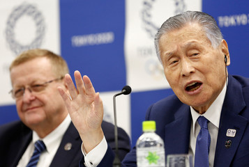 International Olympic Committee (IOC) Vice President John Coates and President of Tokyo 2020 Olympic and Paralympic organising committee Yoshiro Mori attend a news conference in Tokyo