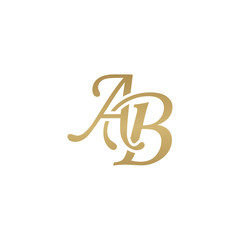Initial letter AB, overlapping elegant monogram logo, luxury golden color