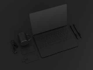 Set of black mock up. 3D illustration