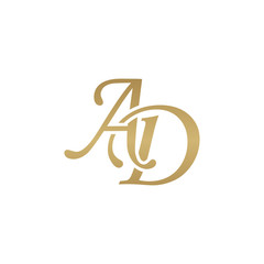 Initial letter AD, overlapping elegant monogram logo, luxury golden color