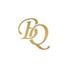 Initial letter BQ, overlapping elegant monogram logo, luxury golden color