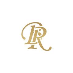 Initial letter BR, overlapping elegant monogram logo, luxury golden color