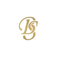 Initial letter BS, overlapping elegant monogram logo, luxury golden color