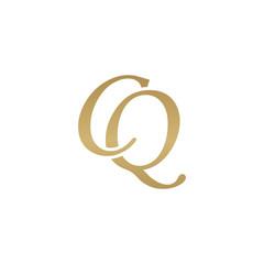 Initial letter CQ, overlapping elegant monogram logo, luxury golden color