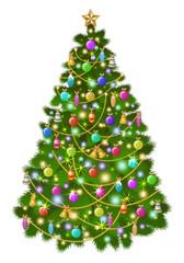 Big Christmas tree with colorful balls, toys and decorations. Christmas lights. Vector illustration, eps 10.