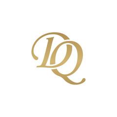 Initial letter DQ, overlapping elegant monogram logo, luxury golden color