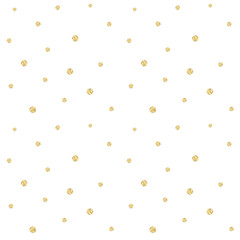 Golden confetti pattern. Modern abstract vector seamless background with small gold texture dots . Perfect for festive party invitations, greeting cards and wrapping paper.