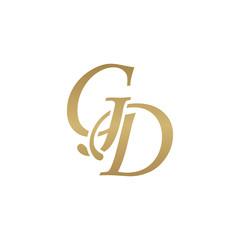 Initial letter GD, overlapping elegant monogram logo, luxury golden color