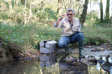 Biologist testing water quality of river