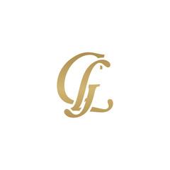 Initial letter GL, overlapping elegant monogram logo, luxury golden color