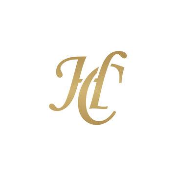 Initial letter HC, overlapping elegant monogram logo, luxury golden color