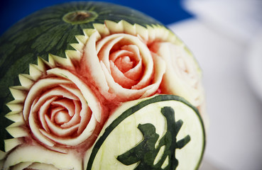 carve patterns or designs on watermelon