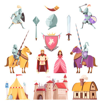 Medieval Royal Heraldry Cartoon Set