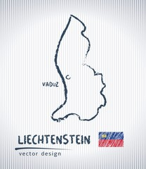 Liechtenstein vector chalk drawing map isolated on a white background