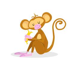 Cute cartoon trendy design little monkey enjoys banana with closed eyes. African animal wildlife vector illustration icon.