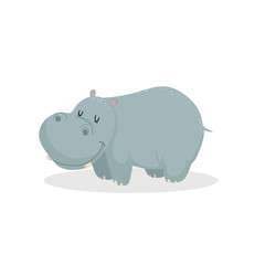 Cute cartoon trendy design little hippo with closed eyes. African animal wildlife vector illustration icon.