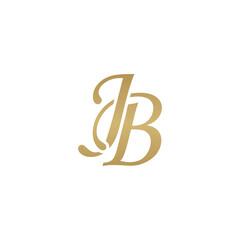 Initial letter JB, overlapping elegant monogram logo, luxury golden color