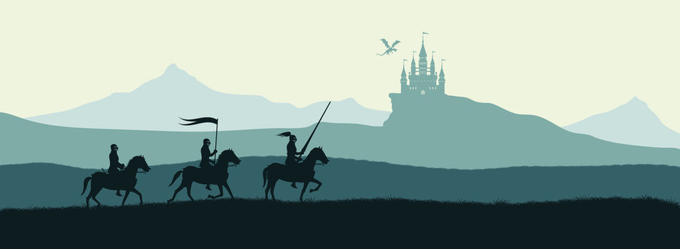 Black silhouette of knights on background of castle attacked by dragon. Fantasy landscape. Medieval panorama