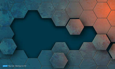 Grunge texture with hexagons segments