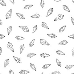 Wall Mural - Seamless pattern. Black and white crystals gems line art. Vector background.