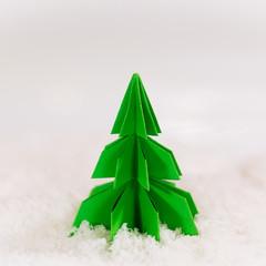 miniature paper pine tree figure, selective focus
