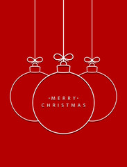 Merry Christmas! Vector hanging abstract line Christmas balls on a string with a bow with shadow on a red background.