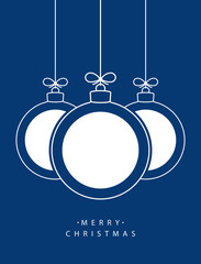 Merry Christmas! Vector hanging abstract line Christmas balls with white circles on a string with a bow on a blue background.
