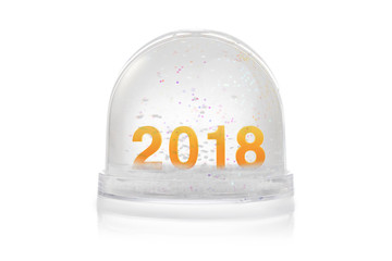 Paperweight with glitter isolated on white. Happy new year 2018 concept.